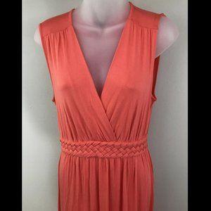 Salmon Pink Stretch Braided Waist Maxi Dress